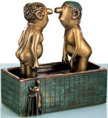"Sculpture ""Men in a bathtub"", bronze"