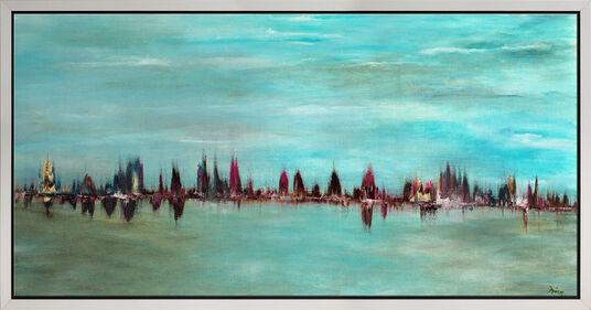 "Irina Brettmann: Bild ""Skyline in blau"" (2016) (Original / Unikat), gerahmt"