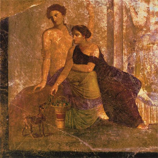 Wandmalerei aus Pompeji: Bild ´Zwei Frauen´, un...