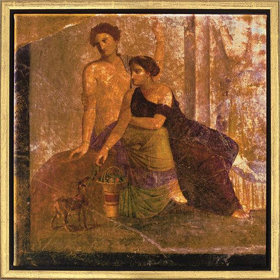 Wandmalerei aus Pompeji: Bild ´Zwei Frauen´, ge...
