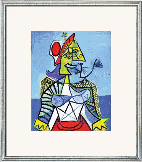 Pablo Picasso: Bild ´Frau mit Vogel´, gerahmt, ...