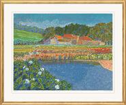 "Painting ""Reflets sur l'étang"" (1990), Framed"