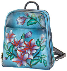 """Backpack """"Flowers"""" from the Anuschka® Brand with an Extra Cosmetic Case / Mirror Case"""