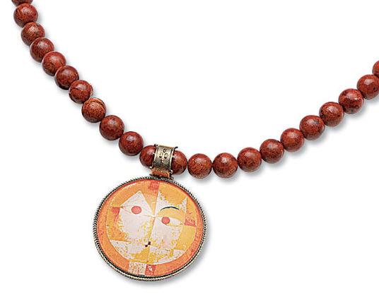 "Petra Waszak: Coral necklace ""Baldgreis"" - by Paul Klee"