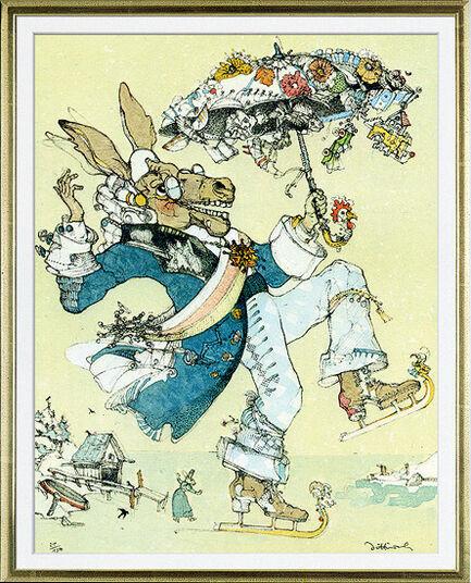 """Simon Dittrich: Bild """"Wenn es dem Esel zu wohl wird, geht er aufs Eis"""", gerahmt"""
