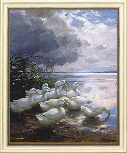 """Alexander Koester: Picture """"Gees on Overcast Shore"""""""