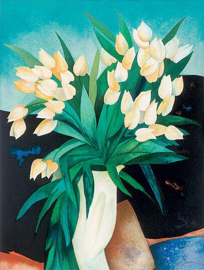 """Claude Gaveau: Bild """"Porcelaine blanche"""" (1997), ungerahmt"""
