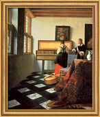 "Picture ""The Music Lesson"" (1662/64) in museum framing"