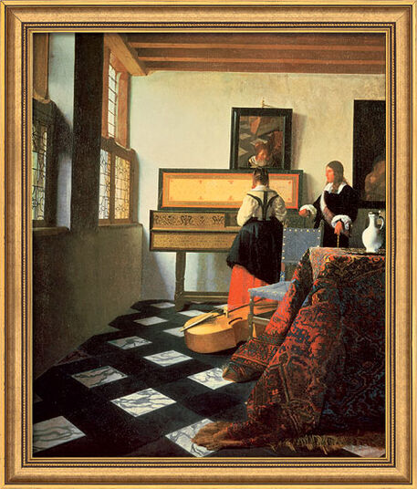 """Jan Vermeer van Delft: Bild """"Die Musikstunde"""" (1662/64), gerahmt"""