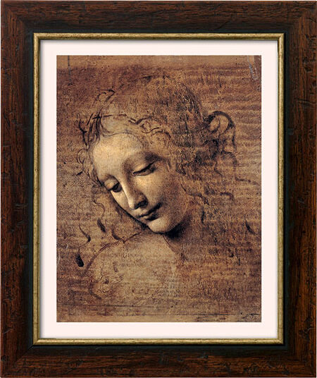 "Leonardo da Vinci: Painting ""Woman Head"" (ca. 1508) with frame"