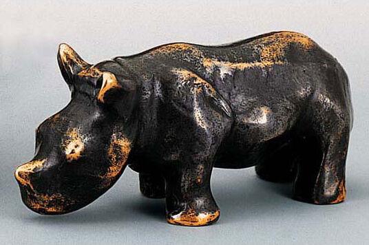 "Mechtild Born: Skulptur ""Nashorn-Kind"", Bronze"