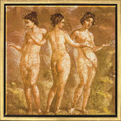 "Mural painting from Pompeii: Painting ""The Three Graces"""