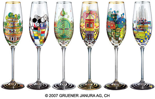 Friedensreich Hundertwasser: 6 Piece Sparkling Wine Glass Set