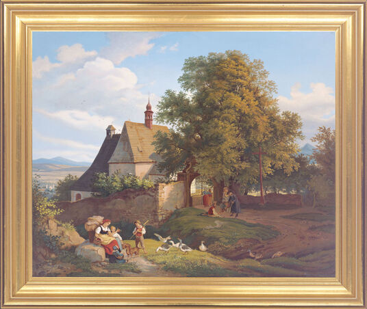 Ludwig Richter: Painting 'St. Anna's Church in Krupka, Czech Republic' (1836)
