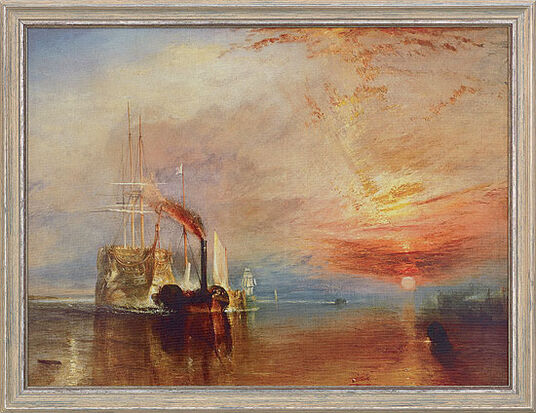 "William Turner: Painting ""The Fighting Temeraire"" (1838/39) in a frame"