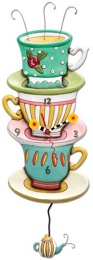 """Michelle & Gary Allen: Wanduhr """"Teetassen"""", Kunstguss handbemalt"""