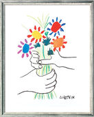 "Painting ""Hands with Flowers"" (1958) in silvery frame"
