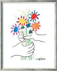 """Bild """"Hände mit Blumenstrauß"""" (1958), gerahmt"""
