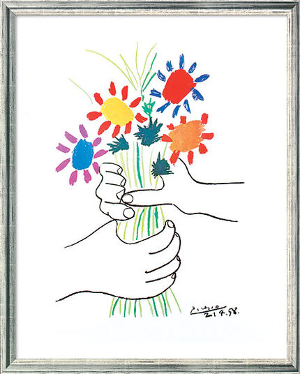 "Pablo Picasso: Painting ""Hands with Flowers"" (1958) in silvery frame"