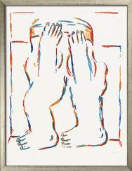 """Bild """"Figur mit erhobenen Armen"""" (1966), gerahmt"""