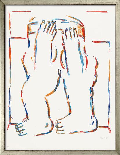 "Horst Antes: Bild ""Figur mit erhobenen Armen"" (1966), gerahmt"