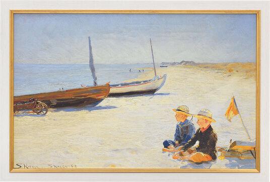 """Peder Severin Kroyer: Bild """"Jungen am Strand von Skagen"""" (1893), gerahmt"""