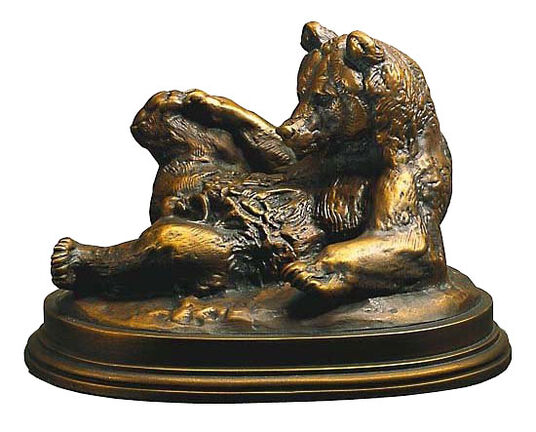 "Antoine-Louis Barye: Sculpture ""Bear lying on his back,"" Fine Art Bronze"