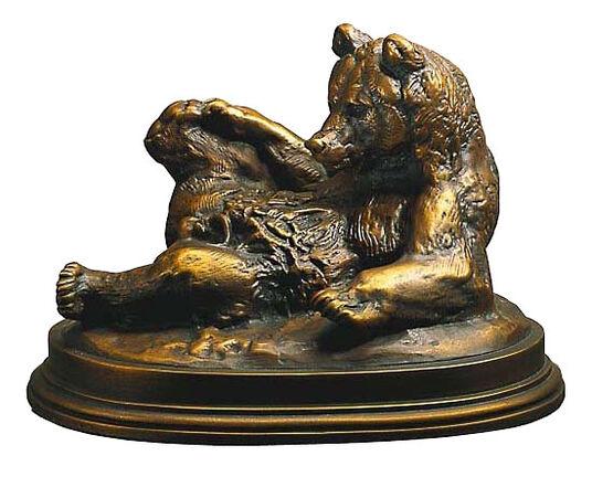 """Antoine-Louis Barye: Skulptur """"Bär, auf dem Rücken liegend"""", Kunstbronze"""
