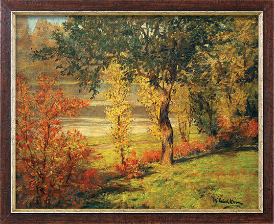 "Walter Leistikow: Painting ""Shore under Trees and Bushes"" (1900) in model framing"