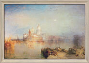 "Painting ""Dogana and Santa Maria della Salute, Venice"" (1843) in a frame"