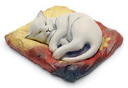 "Sculpture ""The white cat"", art castings, handpainted"