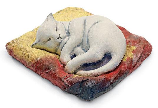 "Franz Marc: Sculpture ""The white cat"", art castings, handpainted"