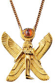 "Ancient Egyptian zodiac sign of ""Virgo"" Necklace (24.8.-23.9.) with a lucky stone."