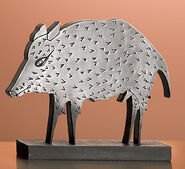 Sculpture 'Wild Boar', metal casting