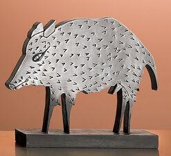 "Skulptur ""Wildschwein"", Metallguss"