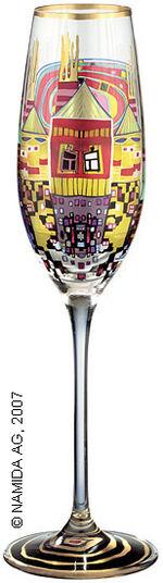 """Friedensreich Hundertwasser: (882A) Sektglas """"Schneckenhäuser mit schwarzem Rauch"""""""
