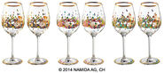 "Six-piece set of wine glasses ""BEAUTY IS A PANACEA - Gold - red wine"""