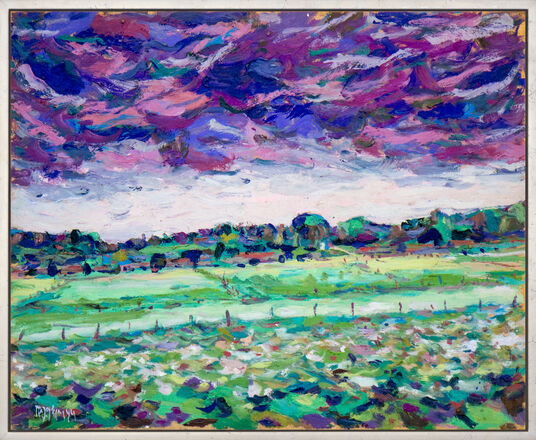 """Theodor Gerkens: Bild """"Moorwiesen und Wolken"""" (1984) (Unikat)"""