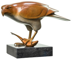 "Sculpture ""Bird of Prey with Fish Nr. 3"", Brown Bronze"