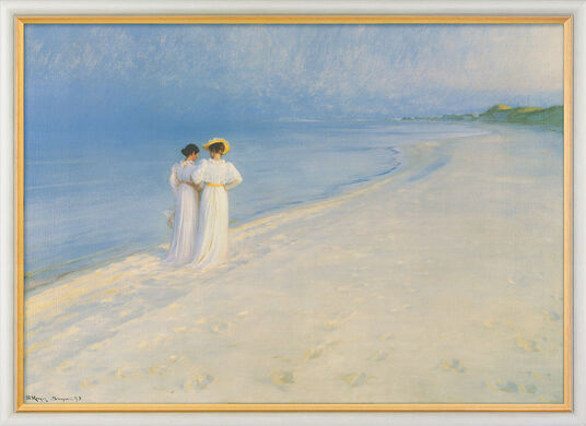 """Peder Severin Kroyer: Bild """"Sommerabend bei Skagen - Der Strandspaziergang"""" (1893), gerahmt"""