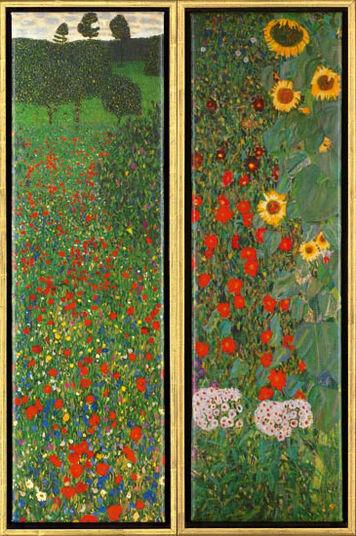 "Gustav Klimt: 2 Paintings ""Poppy Field"" and ""Sunflowers"" in a set"
