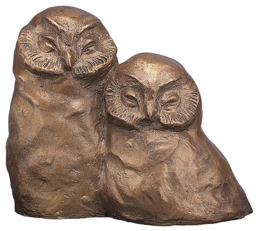 """Dietlind Seidel: Sculpture """"owl couple"""", bronze"""