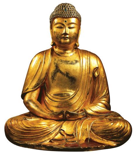 "Hand gilded Buddha sculpture ""Amitabha"", art castings"
