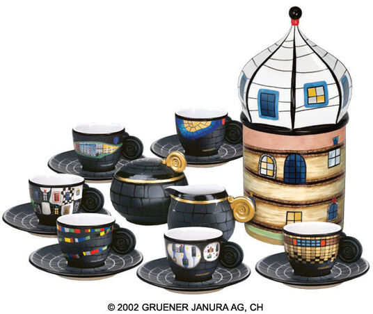 "Friedensreich Hundertwasser: Espresso cup collector's edition with cream jug, sugar bowl and porcelain object ""Sedimentturm"""