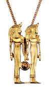 "Ancient Egyptian zodiac sign of ""Gemini"" (21.5.-21.6.) Necklace with a lucky stone."