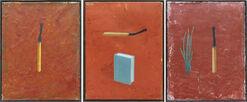 """3-teiliges Bild """"Streichhölzer, Lauch und Buch"""" (1997-2003) (Unikat)"""