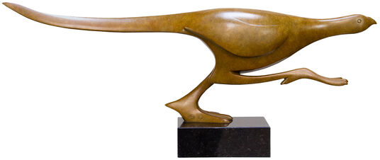 "Evert den Hartog: Skulptur ""Rennender Fasan"", Bronze braun"