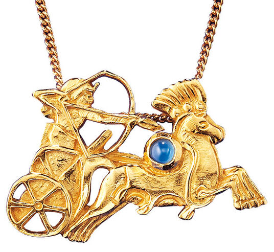 "Ancient Egyptian zodiac sign of ""Sagittarius"" (23.11.-21.12.) Necklace with a lucky stone"