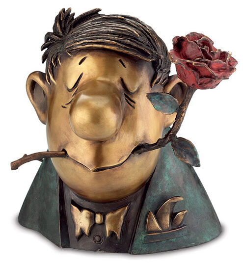 """Loriot: Sculpture """"The Knight of the Rose"""", bronze"""