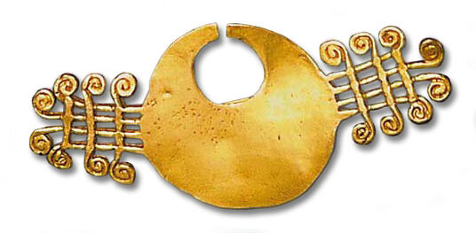 Quimbaya brooch (sun symbol), 925 sterling silver gilded